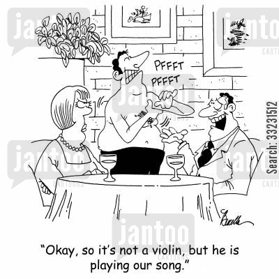 playing armpit cartoon humor: 'Okay, so it's not a violin, but he is playing our song.'