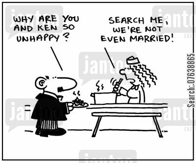 married lives cartoon humor: 'Why are you and Ken so unhappy?' - 'Search me, we're not even married.'