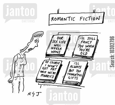 fictitious cartoon humor: Romantic fiction section with titles based on lies.