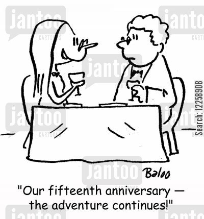 adventure continues cartoon humor: 'Our fifteenth anniversary -- the adventure continues!'