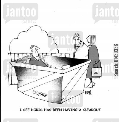 clearouts cartoon humor: I see Doris is having a cleanout.