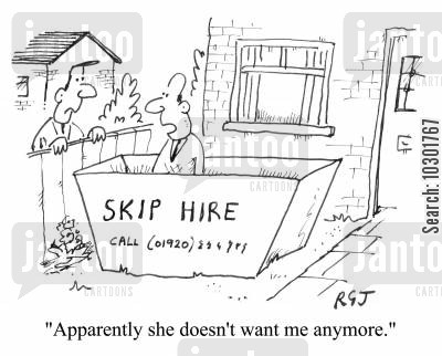 kicked out cartoon humor: 'Apparently she doesn't want me anymore.'