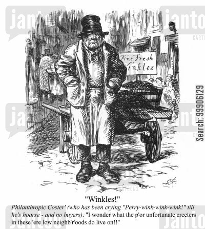 alley cartoon humor: A street salesman selling winkles.