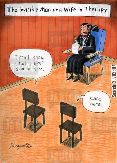 marriage councilor cartoon humor: Invisible couple's therapy -  'I don't know what I ever saw in him.' 'Same here.'