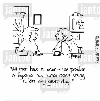 collective brain cartoon humor: 'All men have a brain - The problem is figuring out which one's using it on any given day.'