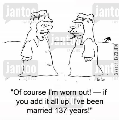 sheikh cartoon humor: 'Of course I'm worn out! -- if you add it all up, I've been married 137 years!'