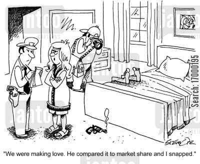 snapped cartoon humor: 'We were making love. He compared it to market share and I snapped.'