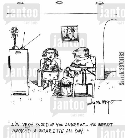 smoking addiction cartoon humor: 'I'm very proud of you Andrew...You haven't smoked a cigarette all day.'