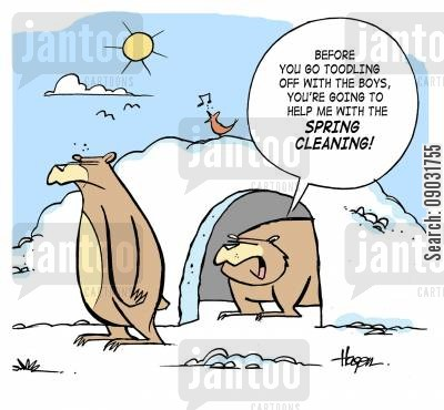 dirty house cartoon humor: 'Before you go toodling off with the boys, you're going to help me with the spring cleaning!'