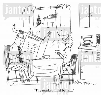 breakfast time cartoon humor: The market must be up