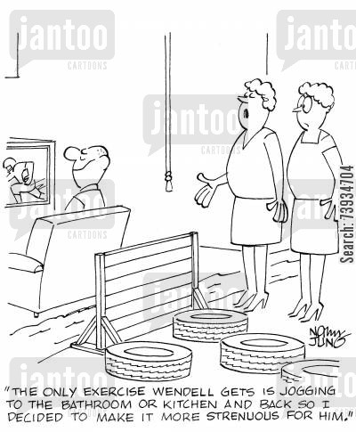 obstacle courses cartoon humor: 'The only exercise Wendell gets is jogging to the bathroom or kitchen and back so I decided to make it more strenuous for him.'