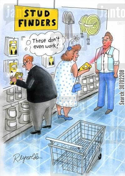stud finders cartoon humor: Stud Finders: 'These don't even work!'