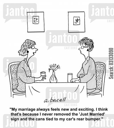 marital secrets cartoon humor: 'My marriage always feels new and exciting. I think that's because I never removed the 'Just Married' sign and the cans tied to my car's rear bumper.'