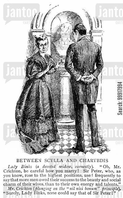 attractiveness cartoon humor: Widow advising a man that men often owe their success to the beauty and social charm of their wife.
