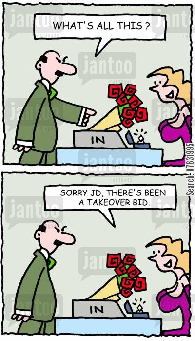 takeover bids cartoon humor: What's all this? Sorry JD, there's been a takeover bid.