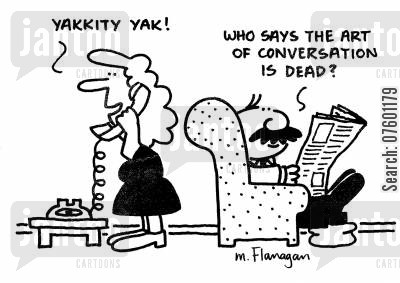 art of conversation cartoon humor: 'Yakkity yak!' 'Who says the art of conversation is dead?'