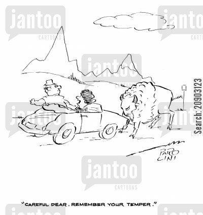 road hog cartoon humor: 'Careful, Dear. Remember your temper.'