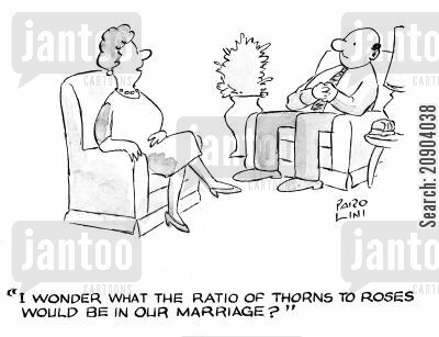 thorn cartoon humor: 'I wonder what the ratio of thorns to roses would be in our marriage?'