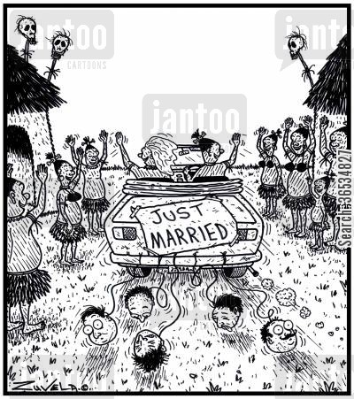 missionary cartoon humor: The CannibalHeadhunter's version of cans tied to the back of a wedding car driving off