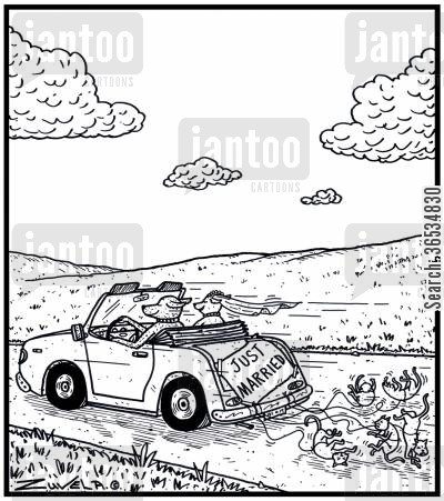 just married cartoon humor: The Canine's version of cans tied to the back of a wedding car driving off with Cats attached