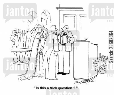 trick question cartoon humor: 'Is this a trick question?'