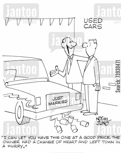 commitment phobia cartoon humor: 'I can let you have this one at a good price. The owner had a change of heart and left town in a hurry.'