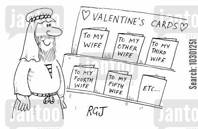 bigamists cartoon humor: Valentine's Cards