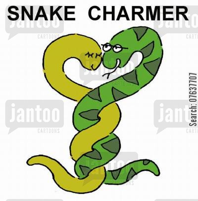 charms cartoon humor: Snake charmer