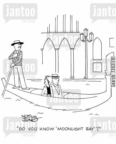 gondola rides cartoon humor: 'Do you know 'Moonlight Bay'?'