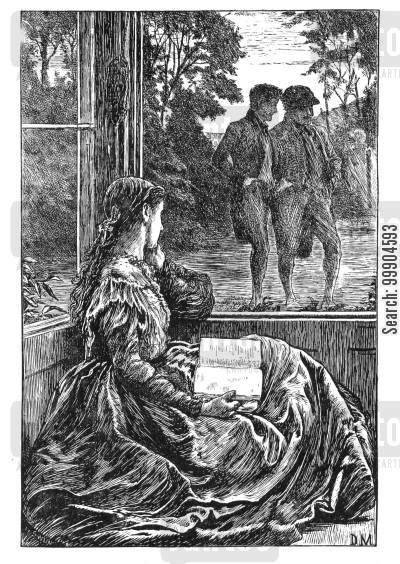 elizabeth gaskell cartoon humor: Illustration for 'Wives and Daughters', scene 3.