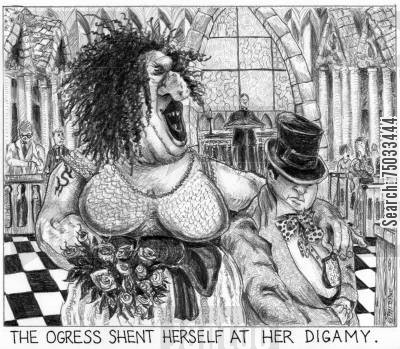 ogre cartoon humor: 'The ogress shent herself at her digamy.'