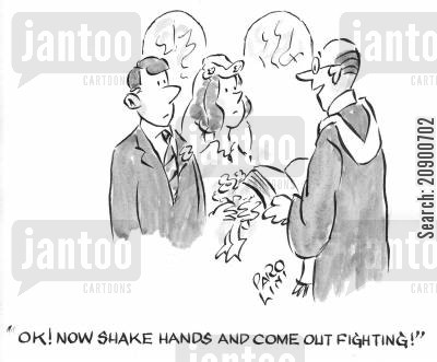 come out fighting cartoon humor: 'OK! Now shake hands and come out fighting!'