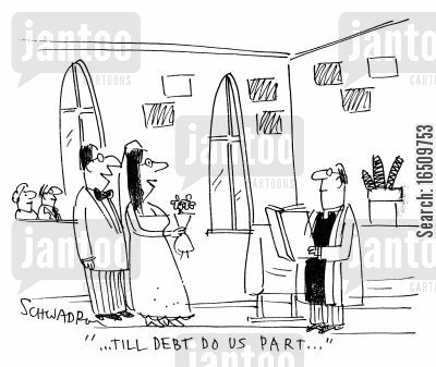 debt cartoon humor: 'Till debt do us part...'