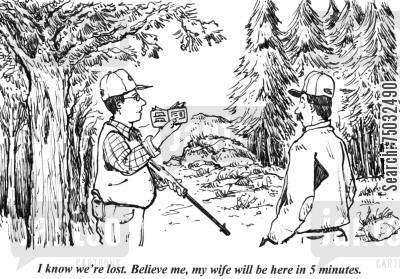 purses cartoon humor: 'I know we're lost. Believe me, my wife will be here in 5 minutes.'