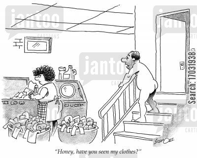 dirty washing cartoon humor: 'Honey, have you seen my clothes?'