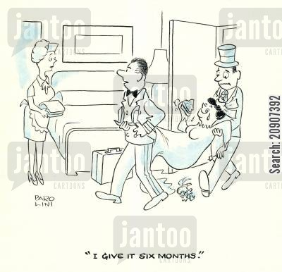 honeymooning cartoon humor: 'I give it six months.'