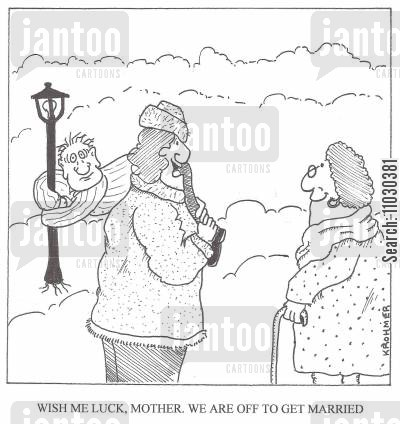 henpecked husband cartoon humor: 'Wish me luck, mother. We are off to get married.'
