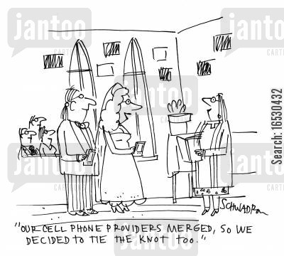 tie the knot cartoon humor: 'Our cell phone providers merged, so we decided to tie the knot too.'