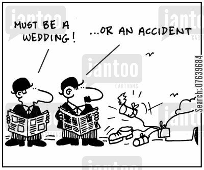 car collision cartoon humor: 'Must be a wedding. Or an accident.'