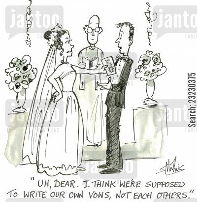 church weddings cartoon humor: 'uh, dear. I think we're supposed to write our own vows, not each others.'