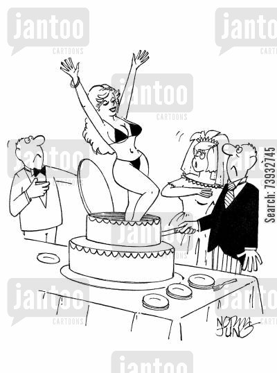 strippers cartoon humor: Stripper jumps out of wedding cake to the surprise of bride & groom