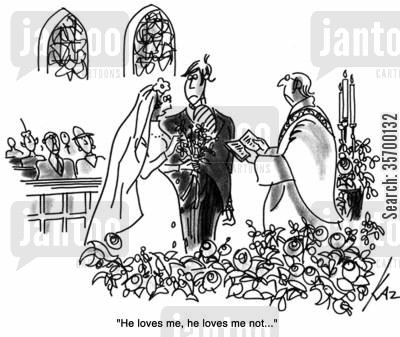 petal cartoon humor: 'He loves me, he loves me not...'
