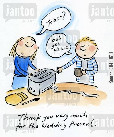 confetti cartoon humor: Thank you for the wedding present.