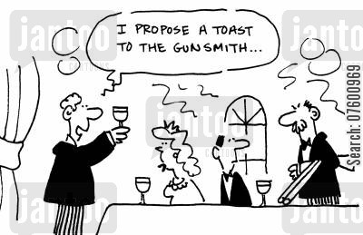 best man cartoon humor: 'I propose a toast to the gunsmith...'