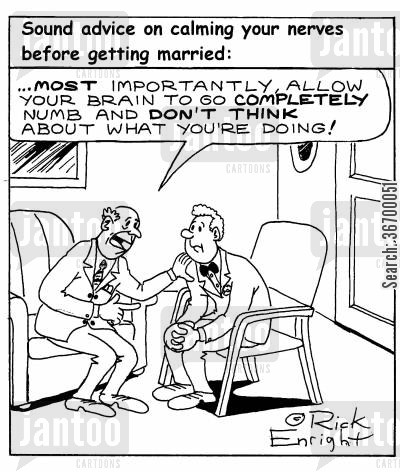 numb cartoon humor: Advice when getting married (...allow your brain to go completely numb...)