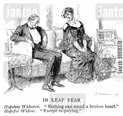 widow cartoon humor: Hopeless widower and hopeful widow