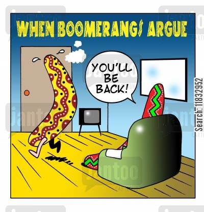 apologising cartoon humor: When boomerangs argue.