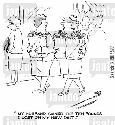 dietry cartoon humor: 'My husband gained the ten pounds I lost on my new diet.'