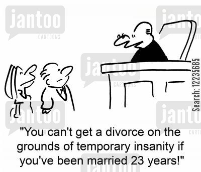 temporary insanity cartoon humor: 'You can't get a divorce on the grounds of temporary insanity if you've been married 23 years!'