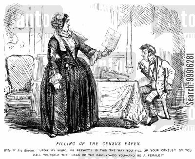 domesticity cartoon humor: Fillig up the census paper - wife angry with husband for calling himself 'head of the family' and her a female.